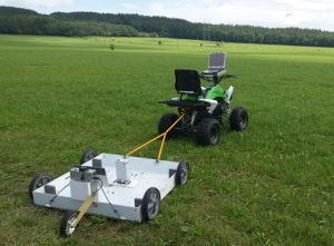 GPR Roteg cart towed by ATV on the field