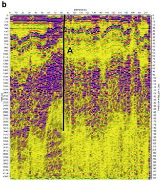 Fig. 6 - Filtered radargrams of profiles (b – profile p13)
