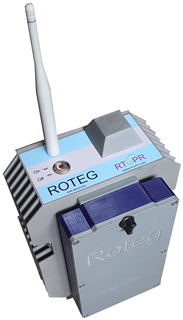 Receiver Roteg – metal box fitted with a battery case, GPS antenna, WiFi antenna